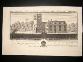 Buck 1730 Folio Architecture Print. Camp's Castle, Cambridge